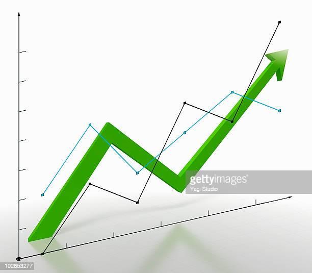 Line graph and arrow