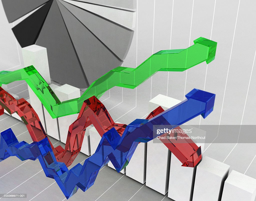 Line graph, bar graph and pie chart, elevated view (Digital) : stock illustration