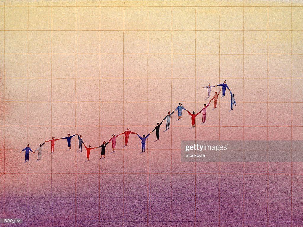 Line graph made out of people : Stock Illustration
