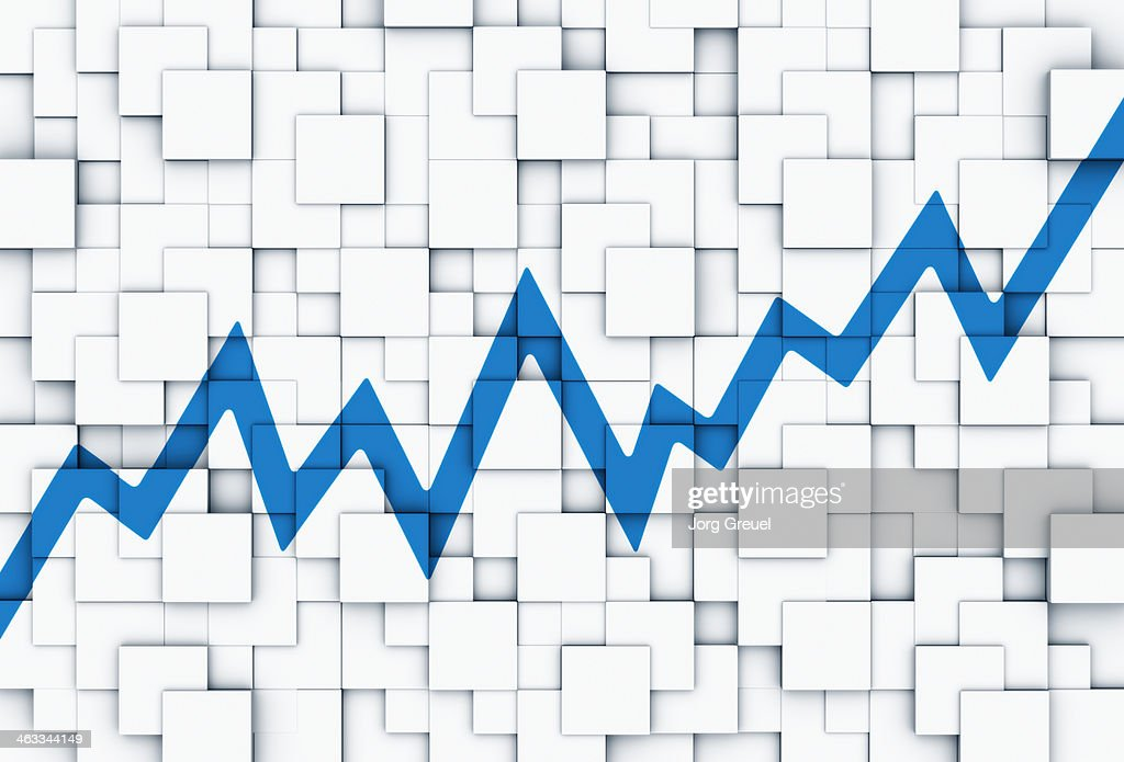 Line graph on cubes : Stock Illustration