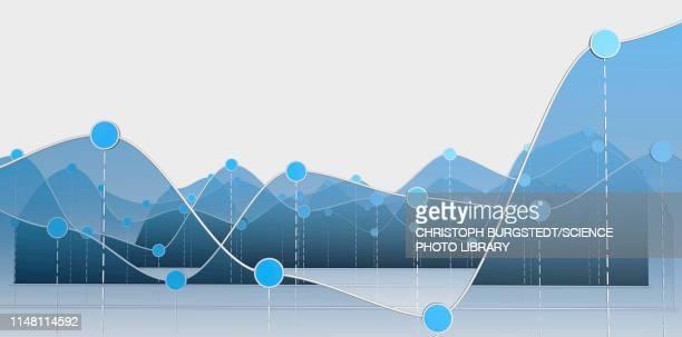 ilustrações, clipart, desenhos animados e ícones de line graphs, illustration - dado de bolsa de valores