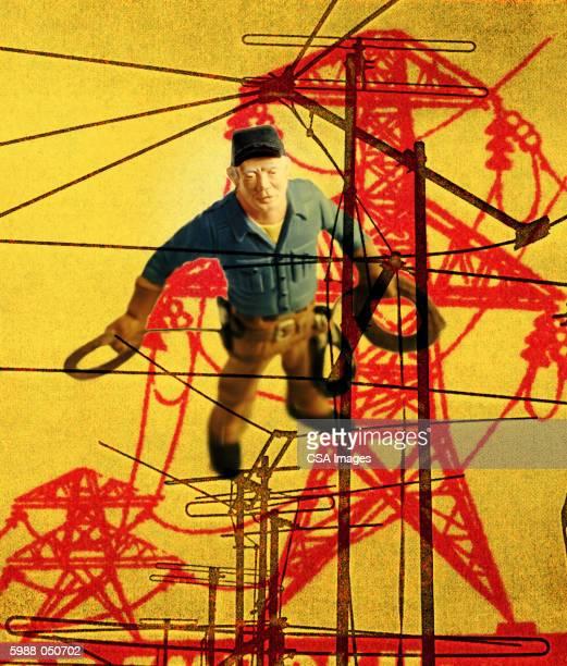 lineman figurine - phone cord stock illustrations