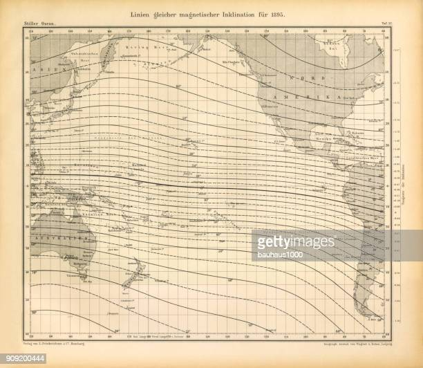 Lines of Equal Magnetic Inclination in 1895 Chart, Pacific Ocean, German Antique Victorian Engraving, 1896