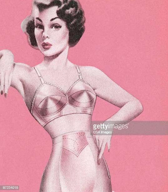 ilustraciones, imágenes clip art, dibujos animados e iconos de stock de modelo en lencería - chicas de calendario