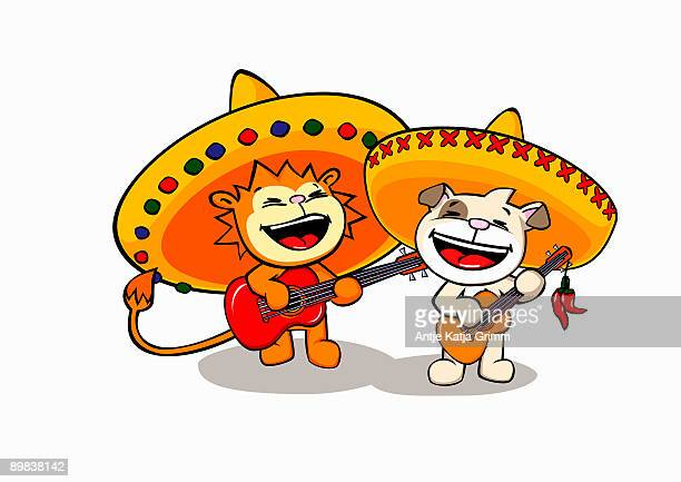a lion and a dog wearing sombreros and playing guitars - mariachi stock illustrations