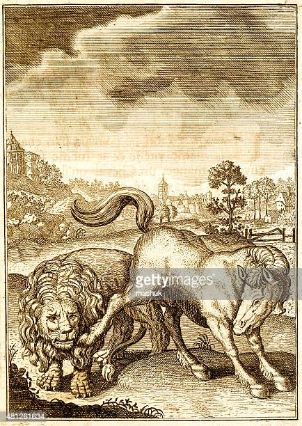 lion and other animals antique engraving - other stock illustrations, clip art, cartoons, & icons