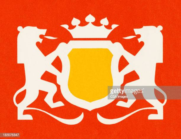 lion coat of arms - king royal person stock illustrations, clip art, cartoons, & icons