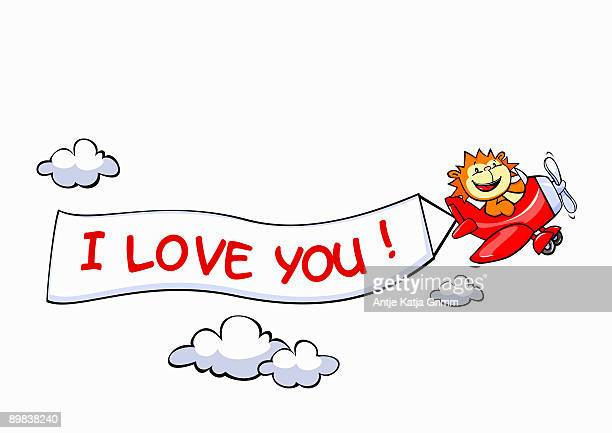 a lion flying an airplane with a banner attached to it that says i love you - exclamation mark stock illustrations