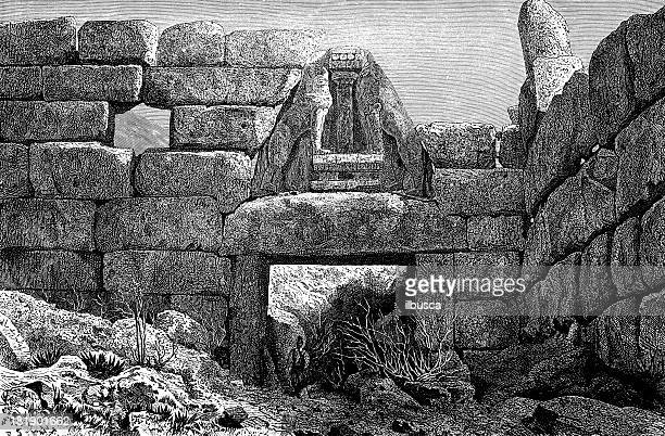 lion gate at mycenae, greece - mycenae stock illustrations