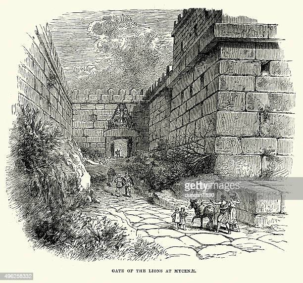 lion gate in the bronze age citadel of mycenae - mycenae stock illustrations
