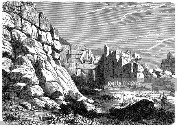 lion gate of mycenae, greece - mycenae stock illustrations