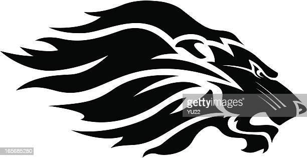 Lion head mascot B&W