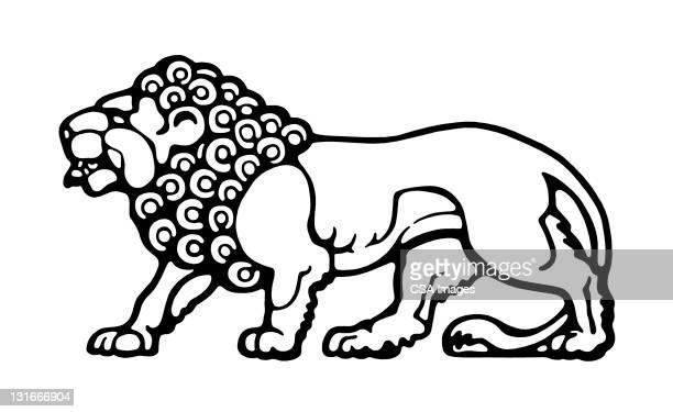 lion - animal mane stock illustrations
