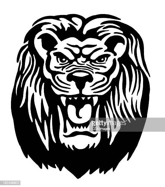 lion - roaring stock illustrations