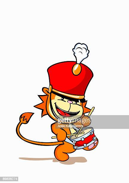 a lion wearing a marching band hat and playing a snare drum - snare drum stock illustrations, clip art, cartoons, & icons