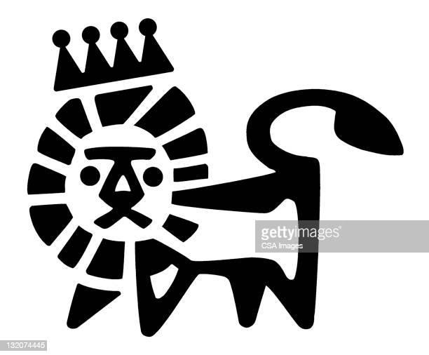 lion wearing crown - animal mane stock illustrations