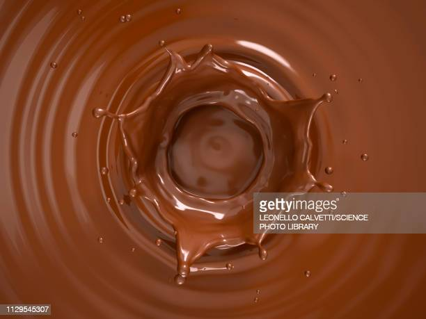 liquid chocolate crown splash, illustration - food and drink stock illustrations