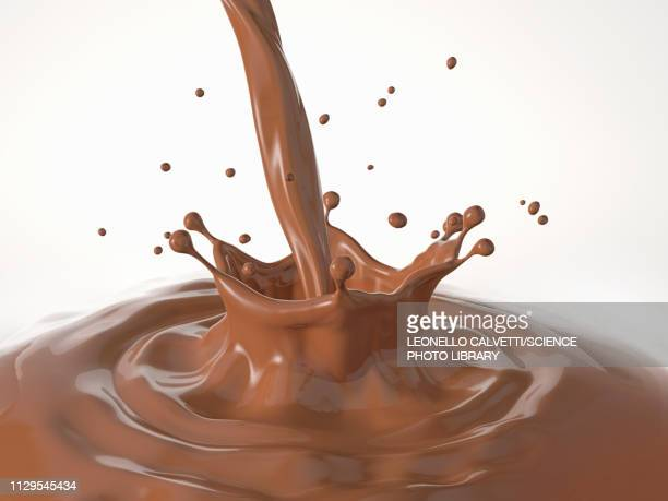 liquid chocolate crown splash with ripples, illustration - close up stock illustrations