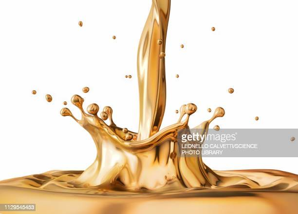 liquid gold pouring with crown splash, illustration - gold coloured stock illustrations
