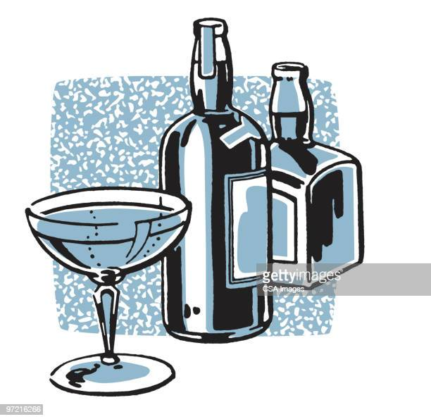 liquor bottles - vodka stock illustrations, clip art, cartoons, & icons