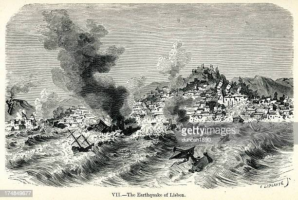 stockillustraties, clipart, cartoons en iconen met lisbon earthquake of 1755 - provincie lissabon