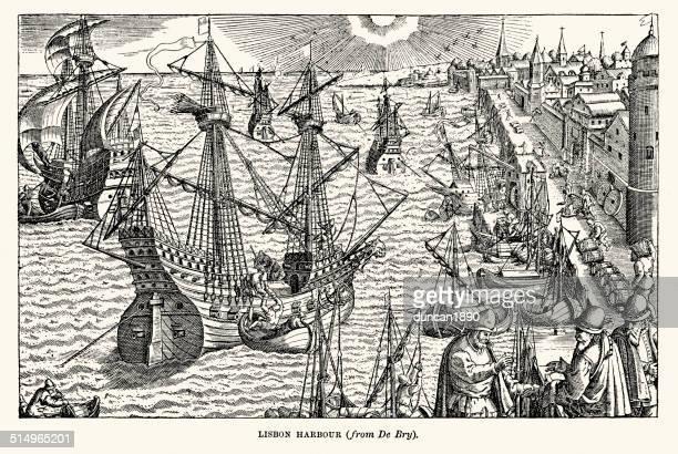 illustrazioni stock, clip art, cartoni animati e icone di tendenza di porto di lisbona nel xvi secolo - cultura portoghese