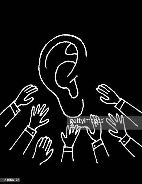 listening ear - sensory perception stock illustrations
