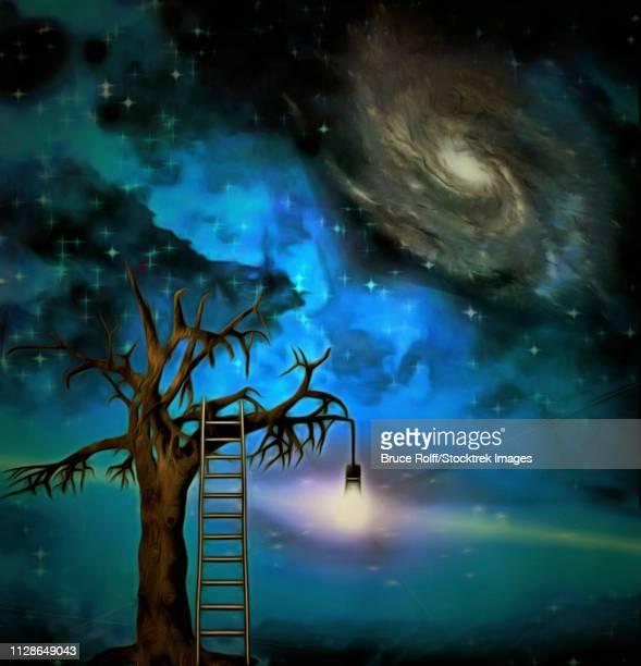 ilustraciones, imágenes clip art, dibujos animados e iconos de stock de lit bulb hangs in space - galaxia espiral
