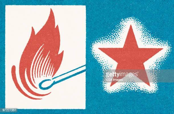 illustrations, cliparts, dessins animés et icônes de lit match and star - feu