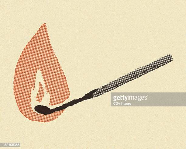 lit match - igniting stock illustrations