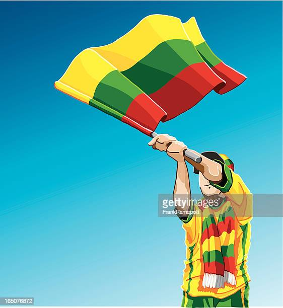 Lithuania Waving Flag Soccer Fan
