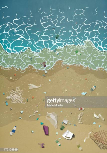 litter washing up on ocean beach - water pollution stock illustrations