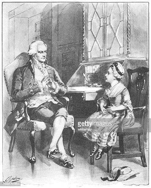 little american girl visiting colonel alexander hamilton - alexander hamilton stock illustrations