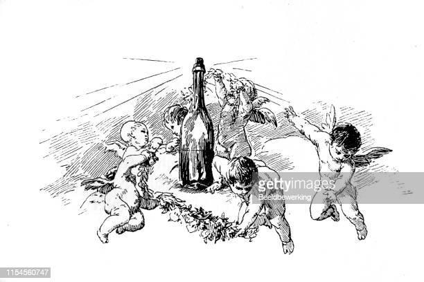 ilustraciones, imágenes clip art, dibujos animados e iconos de stock de pequeños ángulos vuelan alrededor de una botella de vino - obesidad infantil
