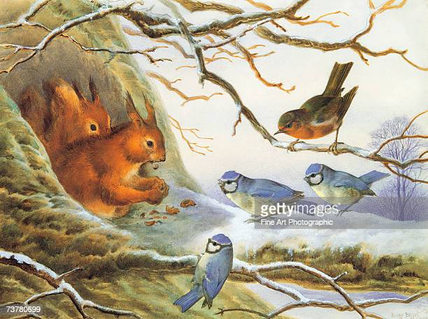 Little birds wait hopefully for a squirrel's leftovers during a snowy winter Artist dates died 1909