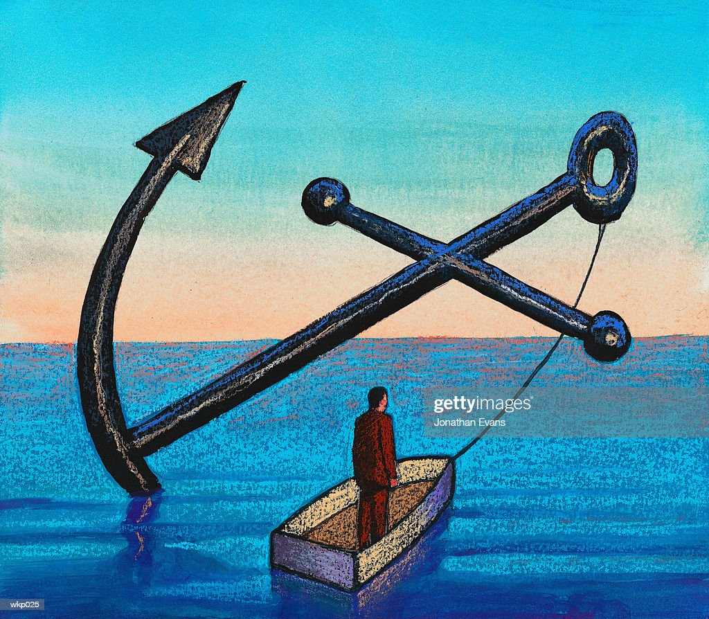 Little Boat with Big Anchor : Stock Illustration