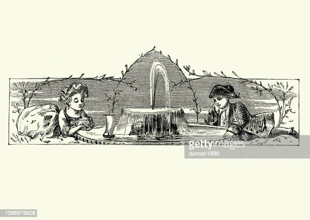 little boy and girl playing a fountain with a model boat - fountain stock illustrations, clip art, cartoons, & icons