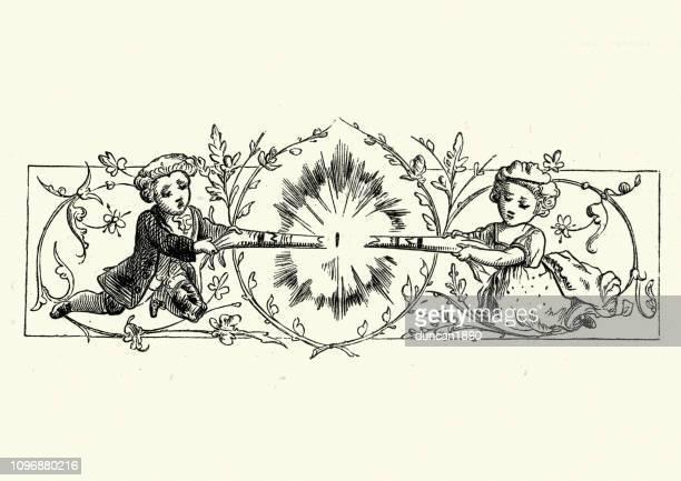 男の子と女の子のクリスマス クラッカー 19 世紀を引っ張って - クリスマスクラッカー点のイラスト素材/クリップアート素材/マンガ素材/アイコン素材