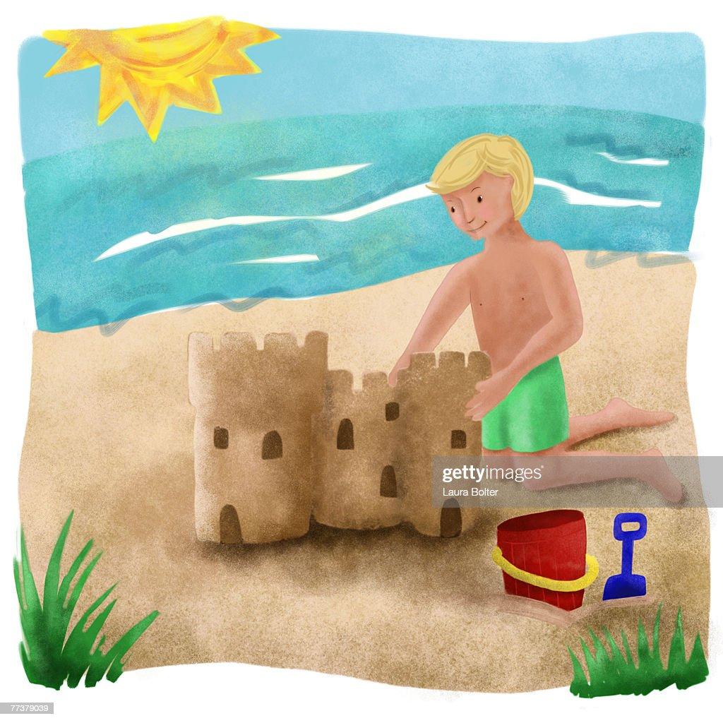 A little boy building a sand castle on the beach : Illustration