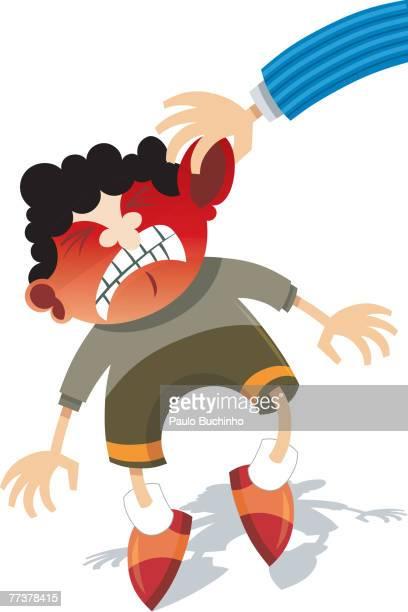 ilustrações de stock, clip art, desenhos animados e ícones de a little boy getting his ear pulled by an adult - buchinho