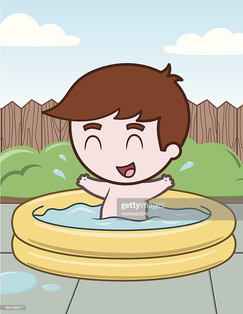 Little Boy in Pool - vector illustration