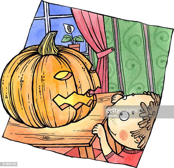 a little boy looking at a jack-o-lantern on a table top - entusiástico stock illustrations