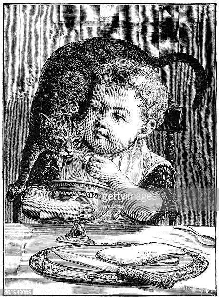 little boy offering sugar to the cat - naughty america stock illustrations