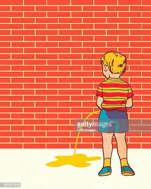 ilustraciones, imágenes clip art, dibujos animados e iconos de stock de little boy peeing - orina