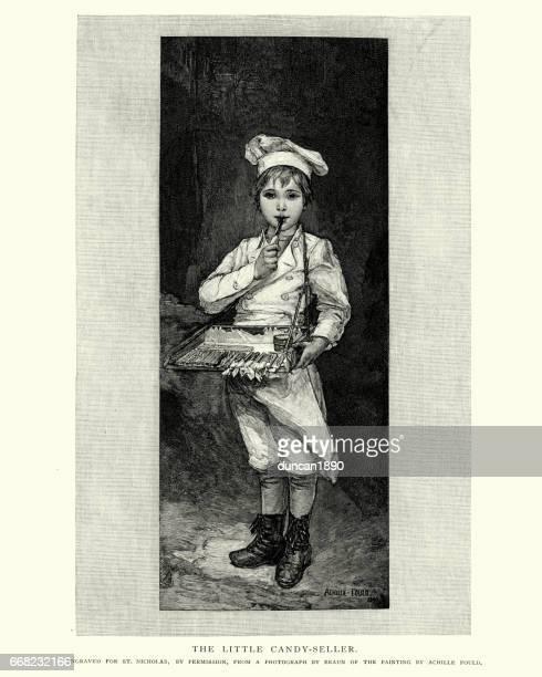 illustrations, cliparts, dessins animés et icônes de petit garçon vendant des bonbons, du xixe siècle - marchand