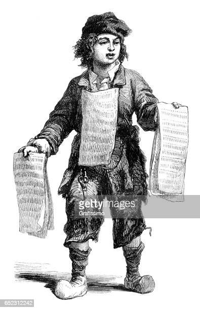Petit garçon vendant journal Paris 1774