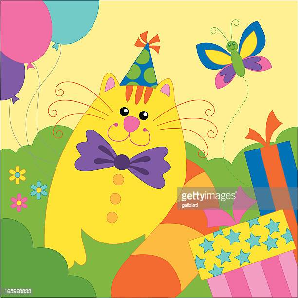 little cat at a birthday party - happy birthday cat stock illustrations