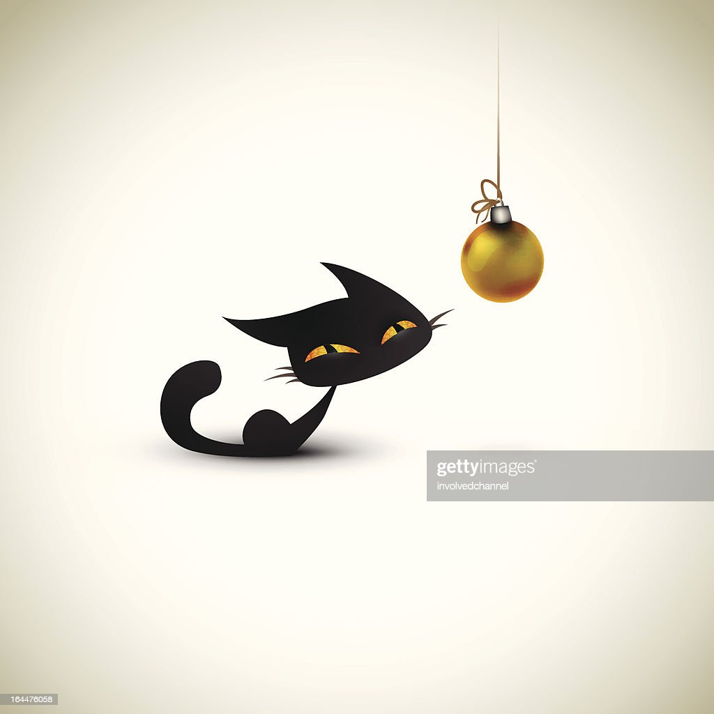Little Cat Excited About Christmas Globe