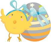 little chick with easter egg vecto