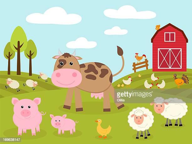 ilustraciones, imágenes clip art, dibujos animados e iconos de stock de little farm - granja